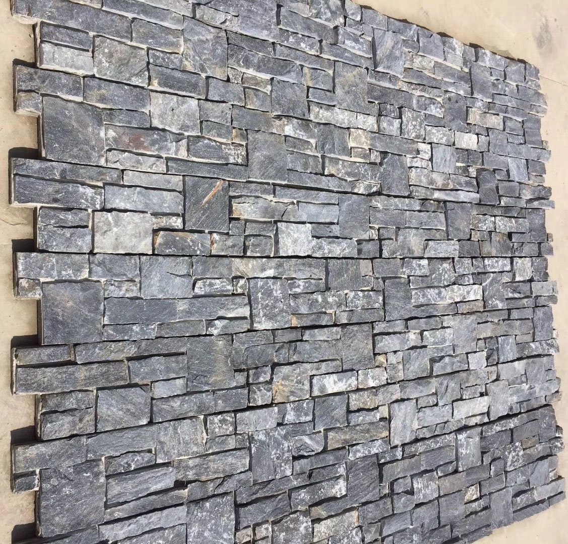 Rough Edge Black Slate Exterior Wall Stone For Outdoor
