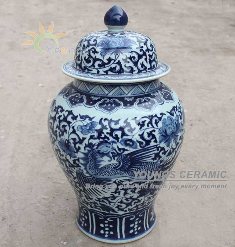 Tall Chinese Blue And White Porcelain Hand Painted Dragon Temple Ginger Jars фото