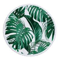 Amazon best selling Beautiful Printed Leaf Beach Towel, Sand Free Round Beach Towel with Fringes