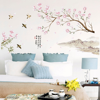 Sk9286 Pink Peach Blossom Flower Decorative Wall Sticker Removable Home Decor Vinyl Wall Decals Buy Transparent Wall Decal Reusable Vinyl