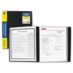 Wholesale CASE of 25 - C-Line Bound Sheet Protector Presentation Books-Presentation Book w/Sheet Protector,12 Pockets,Ltr,Black