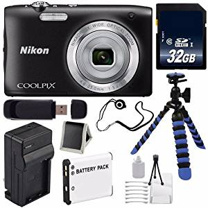 Nikon COOLPIX S2900 Digital Camera (Black) International Model No Warranty + EN-EL19 Replacement Lithium Ion Battery + External Rapid Charger + 32GB SDHC Class 10 Memory Card + 12-Inch Flexible Tripod with Gripping Rubber Legs + SD Card USB Reader + Memory Card Wallet + Lens Cap Keeper + Deluxe
