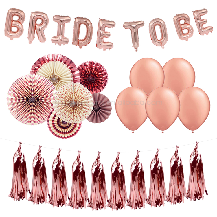 Classy Bride To Be Rose Gold Bachelorette Party Decorations Kit in a Box
