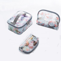 Wholesale Factory Professional Cheap 3pcs Clear PVC Travel Beauty Toiletry Cosmetic Makeup Bags Set with Zipper Pouch