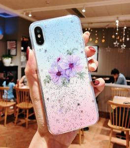 Flowers Plants Letters Case For iPhone XS XR XS Max X 8 7 6 6S Plus Soft Epoxy Glitter Phone Back Cover Cases Bags Gift