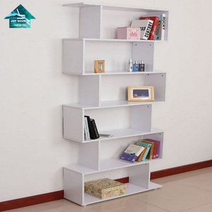 living room Wood Corner shelf 6 level metal Bookcase MDF wooden corner shelf