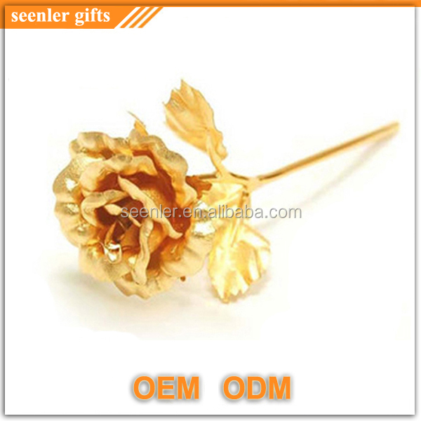 factory direct sale 24k gold foil rose flower with custom engraved logo