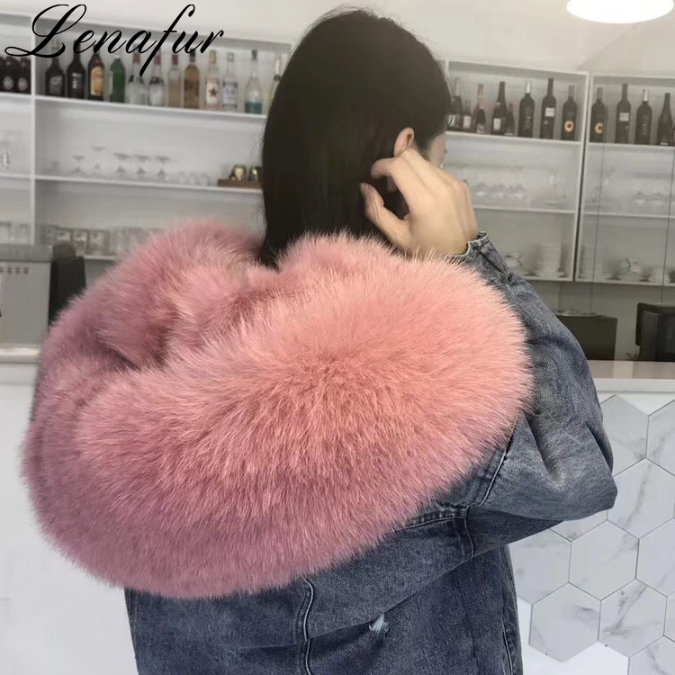 2018 Newest Winter Women 숏 Denim Jeans Style Real 솜 털 Fox Fur Jacket (High) 저 (패션 Fox Fur Hooded Parka
