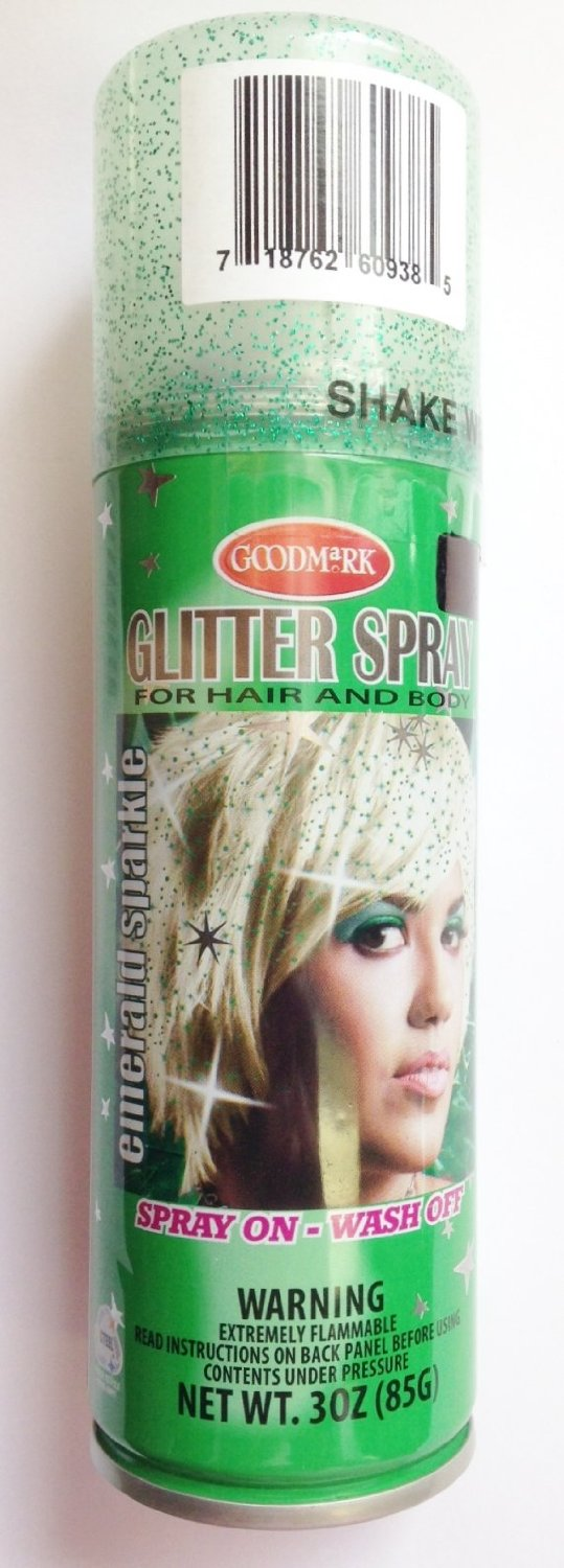 19875b8beaa Emerald Green Glitter Spray Temporary Hair Color 3 oz. Spray on -- Wash Out