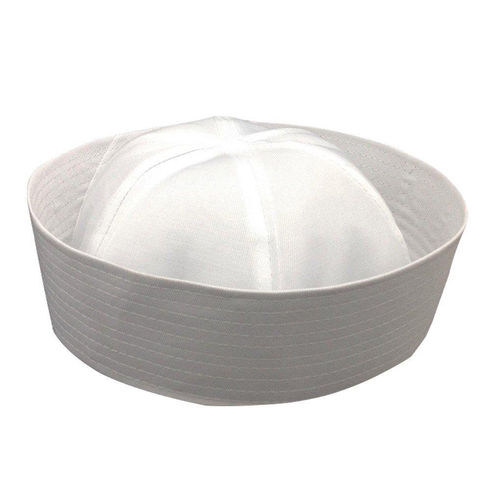 White Adult Sailor Gob Hat Cotton Cap Doughboy Navy Csotume Popeye Gilligan