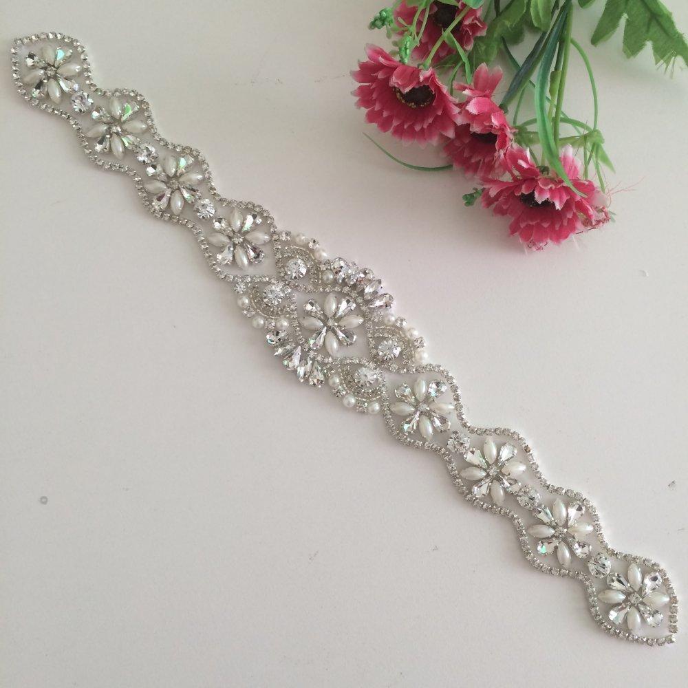 Rhinestone Applique,crystal Applique for Bridal Sash, Diamante Applique, Bridal Applique, Wedding Applique, Pearl Beaded, Wedding Belt RA181