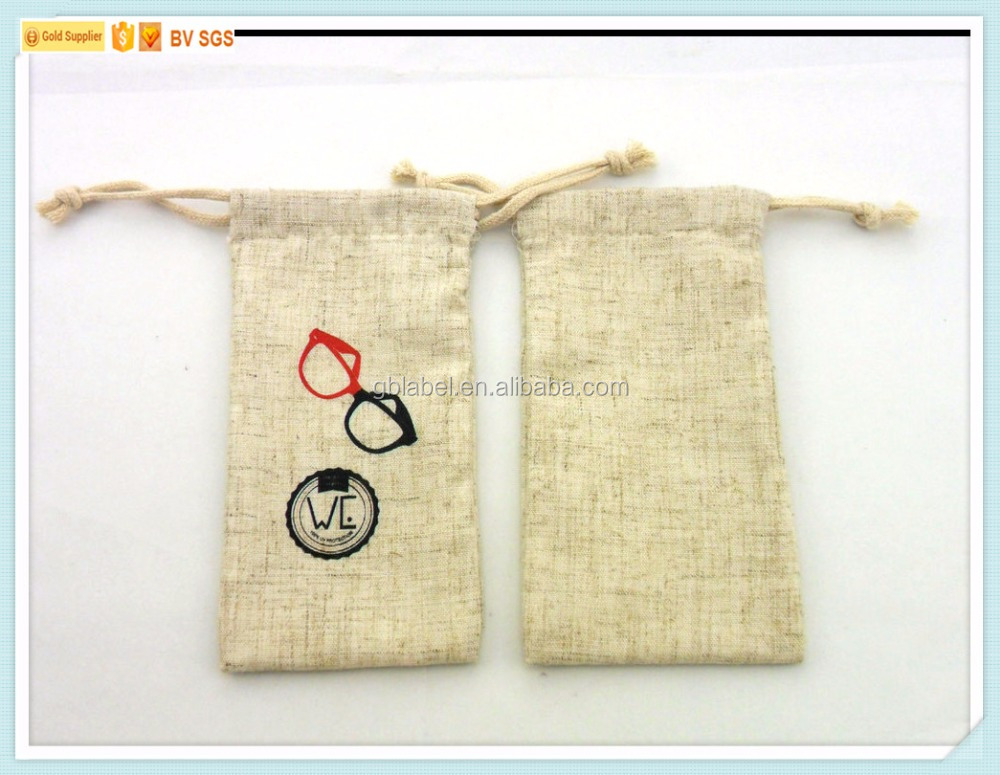 custom cheap wholesale cotton drawstring pouch spectacle accessories