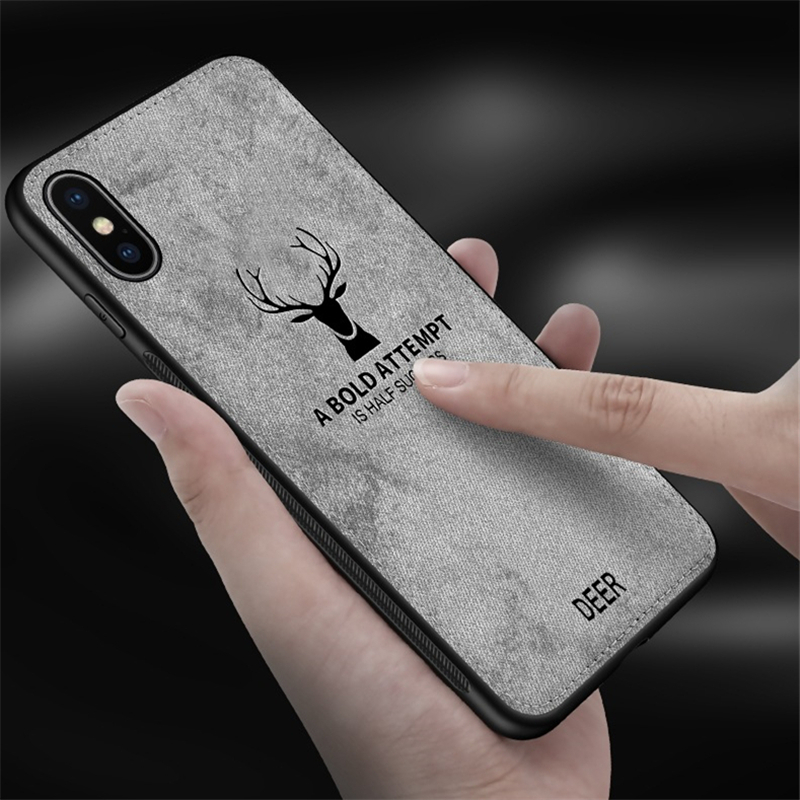 Protective Case-Anti-Slippery Soft TPU and Leather Flexible Durable Shockproof deer Case for iphone X