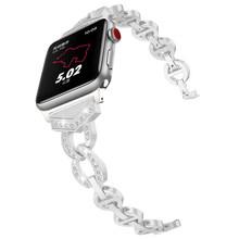 Женский браслет с бриллиантами, ремешок для часов Apple Watch 38/42 мм 40/44 мм, ремешок из нержавеющей стали для iWatch Series 4 3 2 1(Китай)