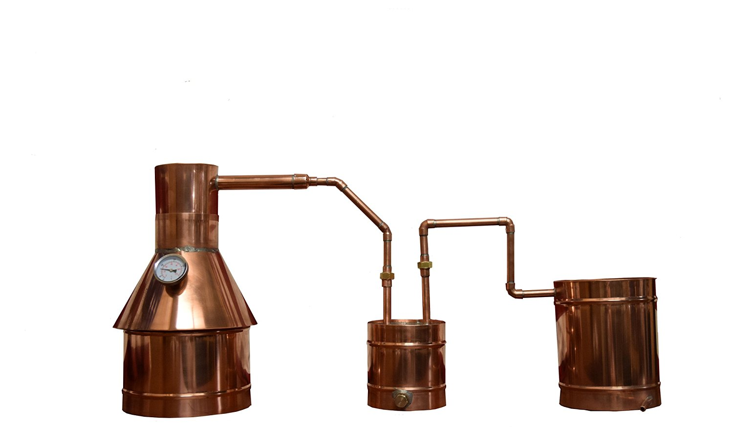 The Distillery Network® Custom Engraved 2 Gallons Professional Grade Moonshine Water Alcohol Spirits Complete Still Assembled Copper Still With Thumper Worm Cap Temperature Gauge