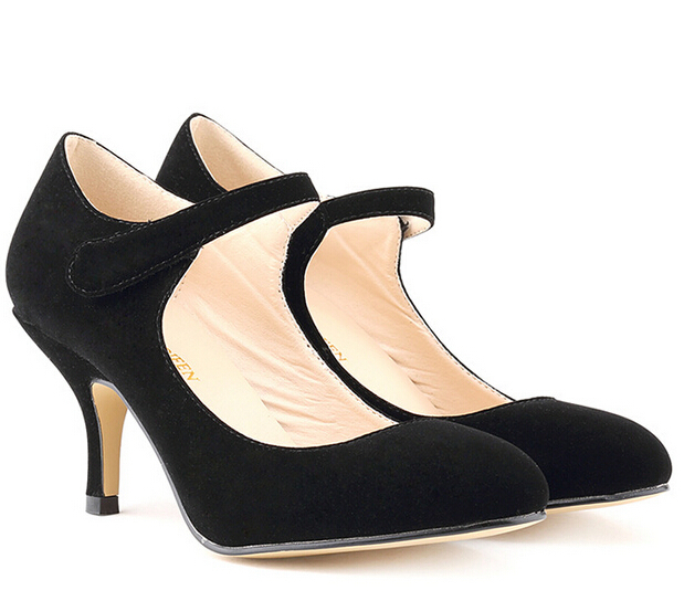 52fd602dd973 Free Shipping Cute Women Shoes FAUX VELVET Mid Heels Casual Ankle Work  Pumps US Size 4
