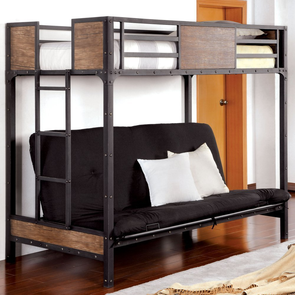 Get Quotations Furniture Of America Brighton Wood Panel Twin Over Futon Bunk Bed