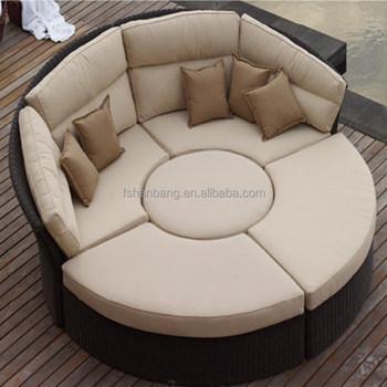 открытый ротанга плетеная садовая мебель набор круглый диван кровать