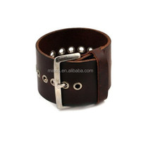 Leather Cuff Steel Grommet Brown Leather Rocker Men's Cuff