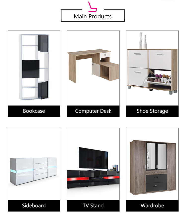 Modern Wooden Display LED TV Stand Furniture with Drawers