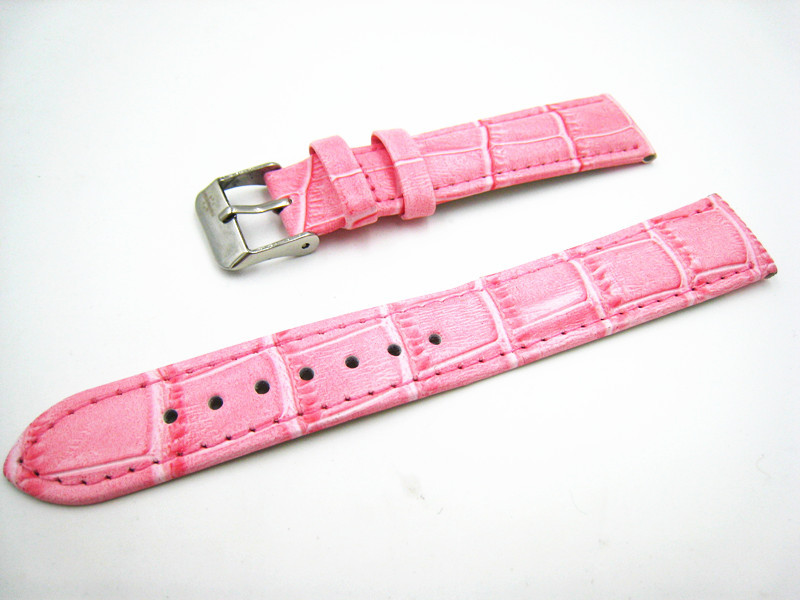 High Quality 18mm Pink Leather Watch Band Fashion Men Women Watch Strap Durable Straps For Wrist Watches