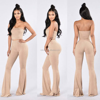 Women's 2 Pieces Set Sexy Off Shoulder Cocktail Party Crop Tops Long Pants Wide Leg Jumpsuits Set Outfit