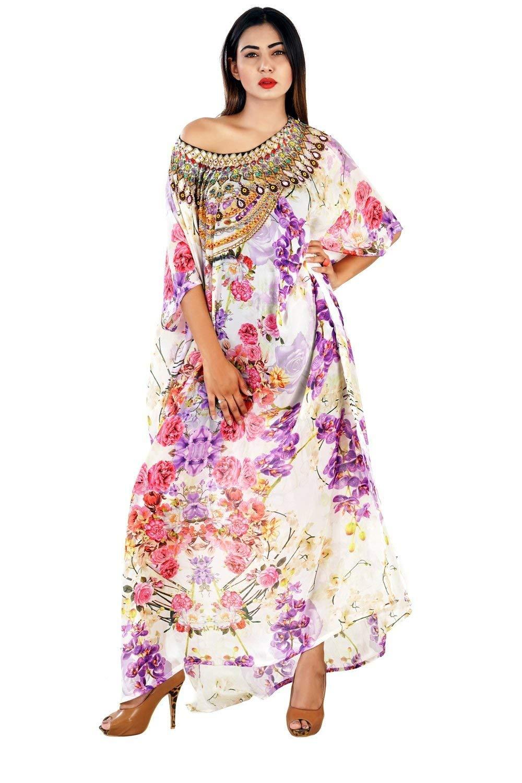 3dca41123d Get Quotations · Beach kaftan dress for woman beaded/beach wear/one piece  jeweled full length kaftan
