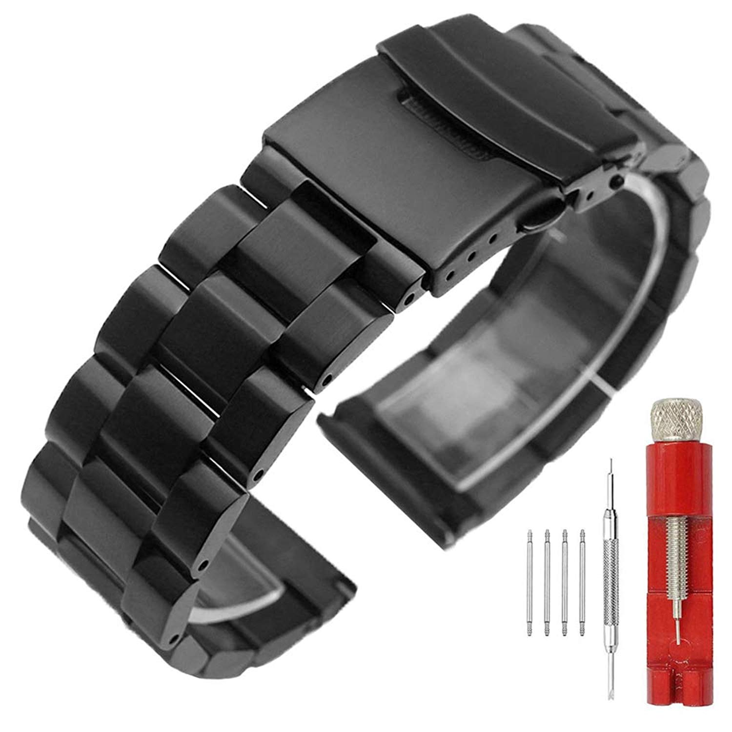 Brush Matte Finish Metal Watch Band Stainless Steel Bracelet Straps 18mm/20mm/22mm/24mm Double Buckle Black or Silver