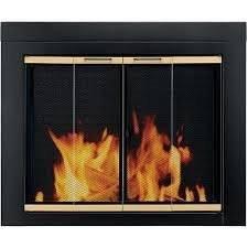 Pleasant Hearth Austin Bi-Fold Style Fireplace Glass Door, Black/Gold, Small, AU-1020