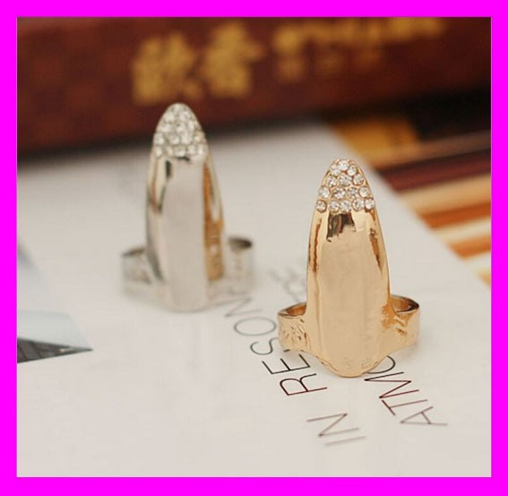 Fashion gold and silver plated jewelry alloy nail rings for teenage girls HD3868