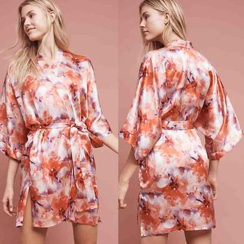 68525b00c0 Japanese Silk Robes Ladies Fashion Satin Sleepwear Wholesale Custom Made  Floral Silk Kimono Robes for Women