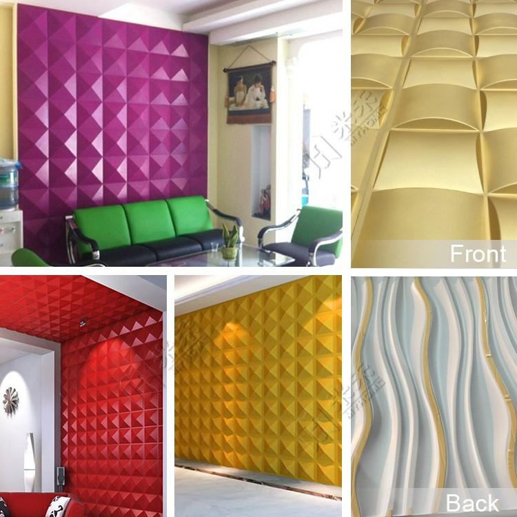 Gold TV wall panel 3d texture pvc laminated wall panel for hotel decoration