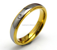 Shiny Polished IP Gold Plated Tungsten Carbide Wedding Rings for Women with CZ Stone
