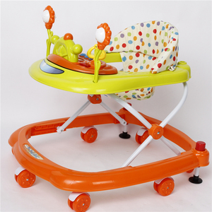 colorful rolling plastic baby walker/OEM cheap baby walker tall baby walker