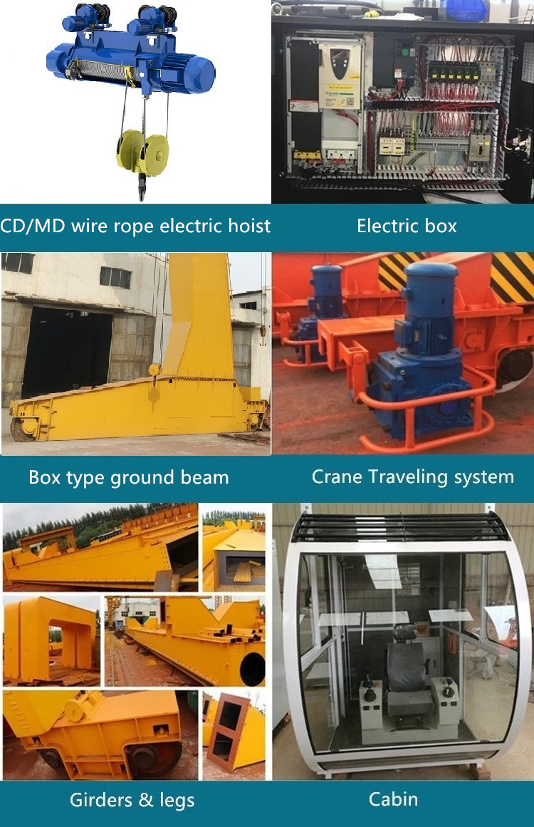 Box type L leg model 30 ton single beam gantry crane with winch trolley hoist