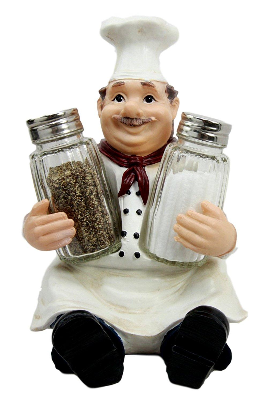 Atlantic Collectibles Italian Head Chef Mario Salt Pepper Shakers Holder Figurine