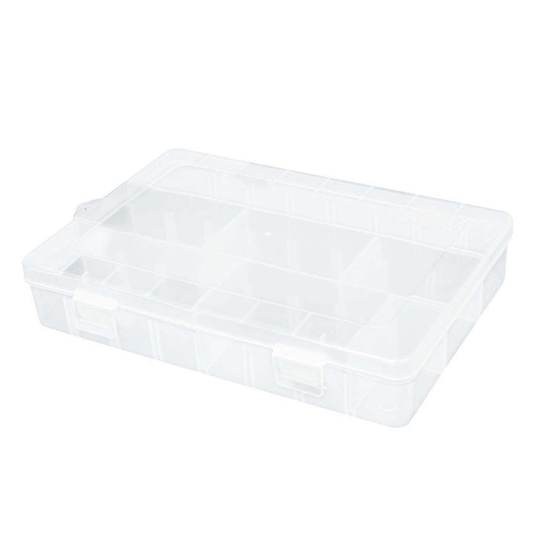 uxcell Clear White Plastic 3 Compartments Storage Case Box w 4 Removable Sheet