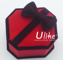 popular velvet red jewelry ring gift box with bowknot for party supplies
