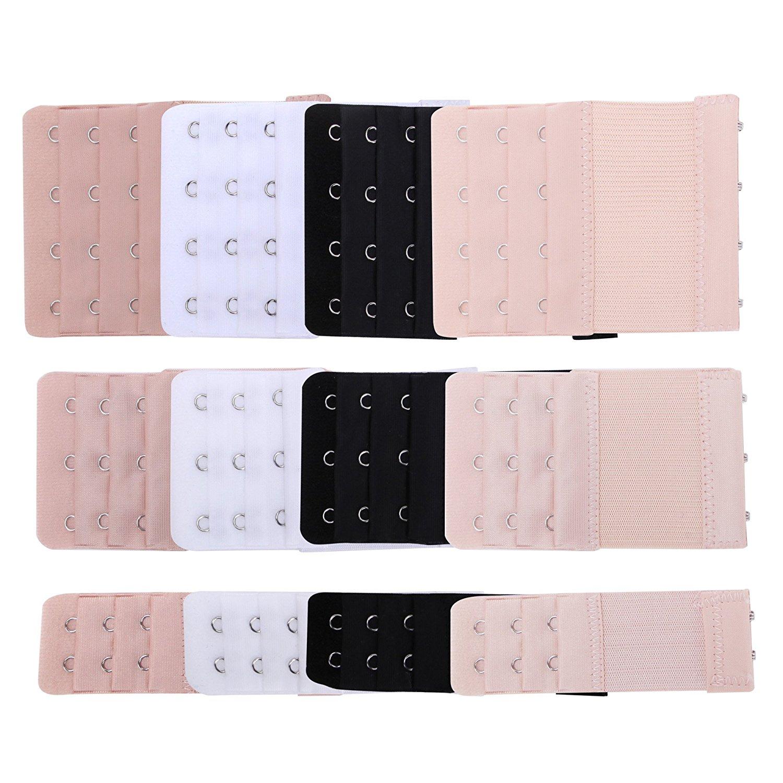 AKOAK 6 Pcs Womens Bra Elastic Extender 2 Rows 2-Hooks,White
