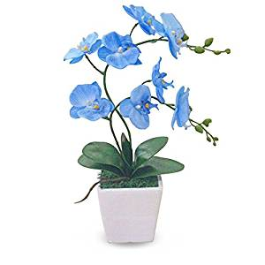Artificial Silk Flower Decorative Silk Flower Arrangement with Creative Conch Ceramic Vase, Butterfly Orchid (Always Charming with Either Light or Heavy Make-up) (blue)