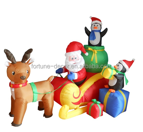 180cm high polyester inflatable reindeer sleigh , santa and penguins air blown yard advertising