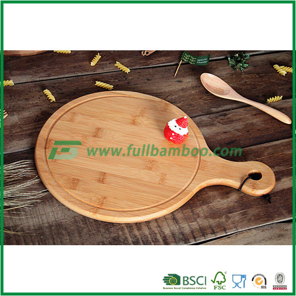 round thin pizza cutting board bamboo natural wood chopping board