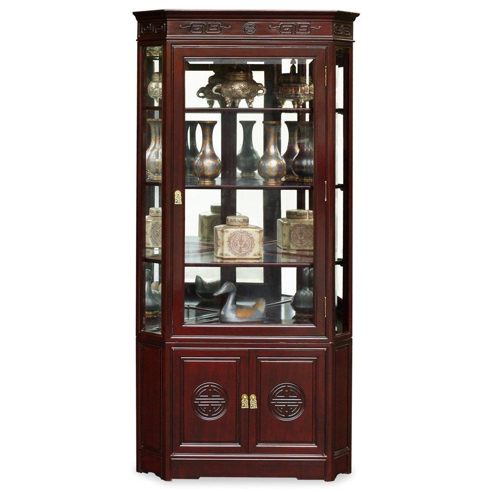 China Furniture Online Rosewood Corner Cabinet, Longevity Design 27 Inches  Display China Cabinet Dark Cherry