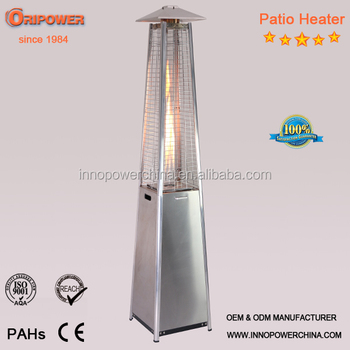 1.9m Quartz Glass Tube Patio Heater, Real Flame Pyramid Outdoor Gas Patio  Heater