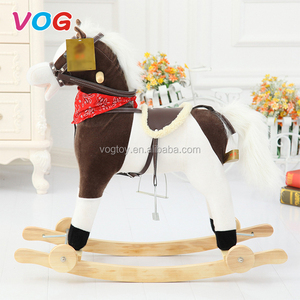 Children indoor kids plush custom rocking horse for baby balance toys