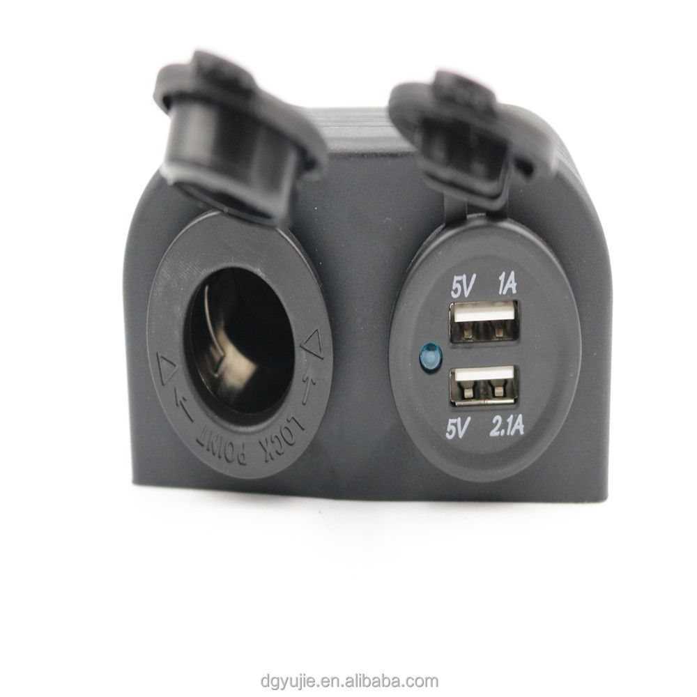 12V Dual USB Car Cigarette Lighter Socket Splitter Charge