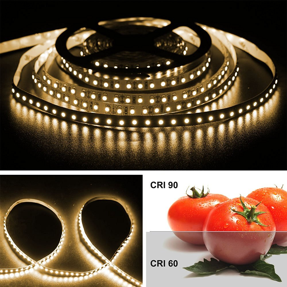 LightingWill LED Strip Lights CRI90 SMD3528 600LEDs 16.4Ft/5M Ultra Warm White 2700K-3000K DC12V 48W 120LEDs/M 9.6W/M 8mm White PCB Flexible Ribbon Strip with Adhesive Tape Non-Waterproof H3528UWW600N