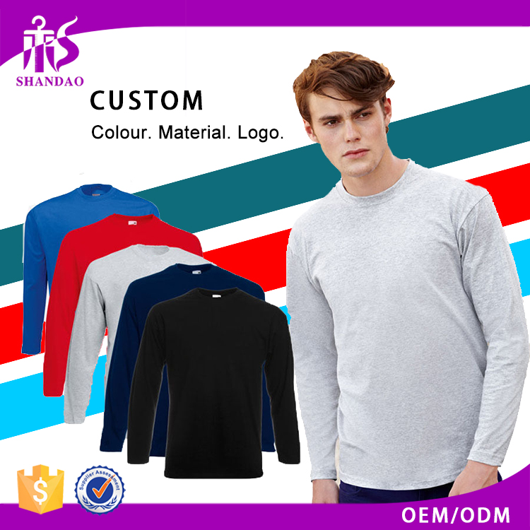 2017 Shandao OEM Manufacturers New Fashion Design Custom Logo 200g 100% Cotton O-Neck Long Sleeve Slim Fit Tshirt