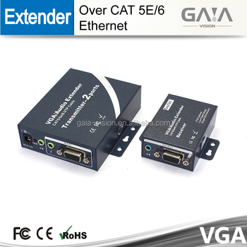 200m One Way Input Video/audio Vga Extender 200m Over Cat5/5e/6 With 2 Way  Output - Buy 200m Vga Extender Transmits Over Utp Cable Supplies Video And