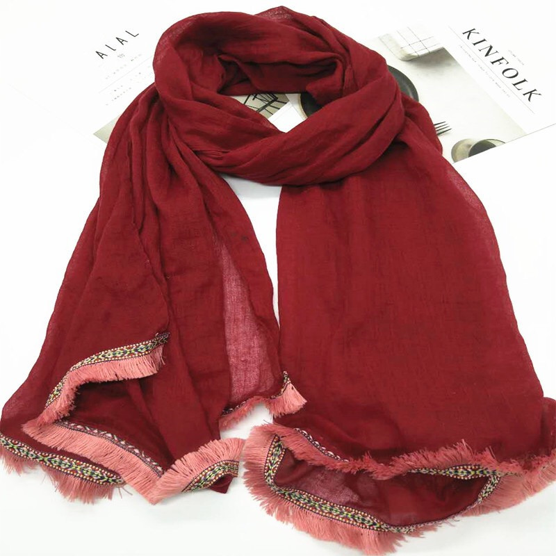 2018 New Fashion for Monochrome Fringes Border Plain Colour Wrap Scarf Women Hijab Wholesale